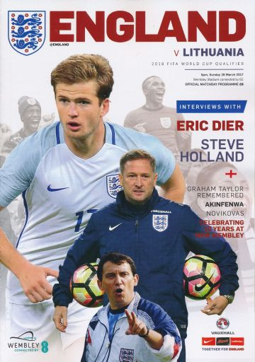 2017 England v Lithuania (World Cup Qualifer @ Wembley) - official match programme